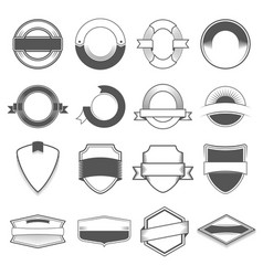 set of sixteen badges logos borders ribbons vector image