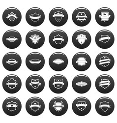 Shield badge icons set vetor black vector