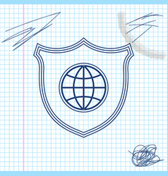 shield with world globe line sketch icon isolated vector image