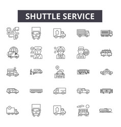 Shuttle service line icons signs set vector