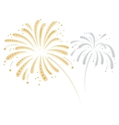 Silver and gold fireworks vector