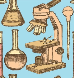 Sketch scientific equpment in vintage style vector