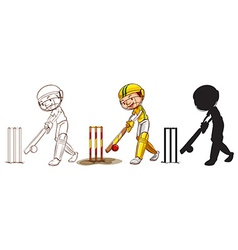 Sketches of a boy playing cricket in different vector image