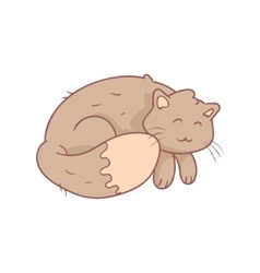 Sleeping Fluffy Grey Cat vector