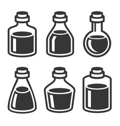 Small medical or parfume jar and bottles icons set vector