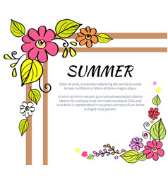 summer text and floral frame vector image