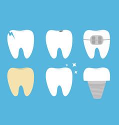 Teeth set cracked broken healthy yellow white ill vector