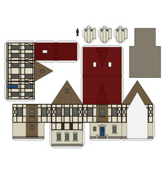 The paper model of an old house vector