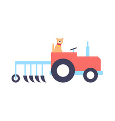 Tractor with plow for work on farm icon vector