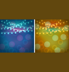 Two background templates with blue and orange vector