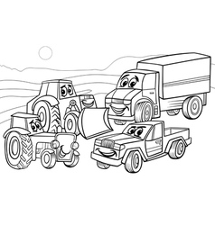 vehicles machines cartoon coloring page vector image