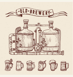 vintage engraving style beer set retro brewery vector image