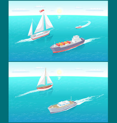 water transport and sailing boats ferry vector image