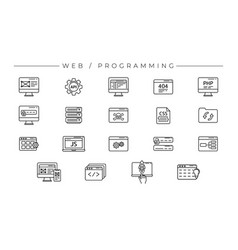 Web and programming concept line style vector