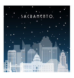 Winter night in sacramento night city vector