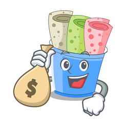 with money bag rolled ice creams in cartoon cups vector image