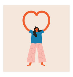 with woman showing heart shape hands vector image