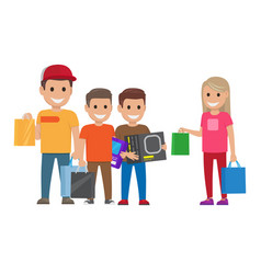family shopping shopping collection vector image