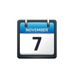 November 7 Calendar icon flat vector image vector image
