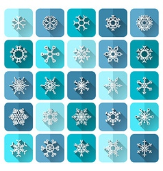 Set of square snowflake icons with long flat vector image vector image