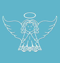 Christmas angel with wings and a halo cut from vector