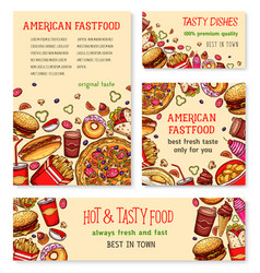 fast food banner and poster template set design vector image