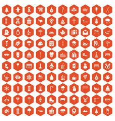 100 winter holidays icons hexagon orange vector image