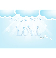 Arrow and Love Feathers from the sky Blue Valentin vector image
