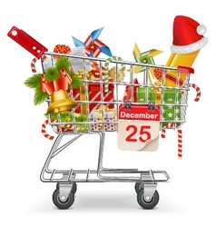 Cart with Christmas Decorations vector image
