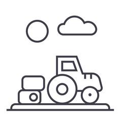 farm harvesttractor line icon sign vector image