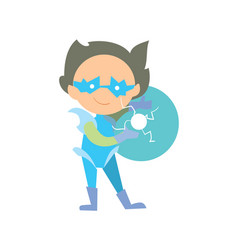 funny super children character in flat design vector image