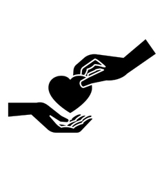 Hand gives heart icon simple style vector image