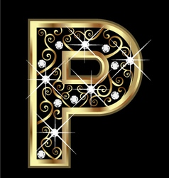 P gold letter with swirly ornaments vector image