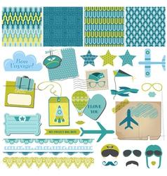Scrapbook Design Elements - Airplane Party Set vector image vector image