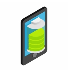 Smartphone with green full battery vector image vector image