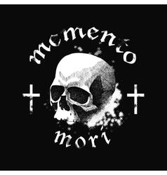 white skull on black background in grunge vector image vector image