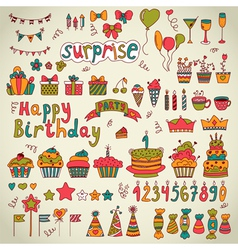 Birthday party design Cute hand drawn elements vector image