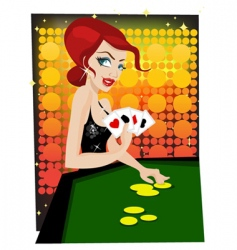 casino girl vector image vector image
