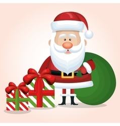 cute santa claus two gift and bag graphic isolated vector image