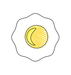 Drawing fried egg breakfast food vector