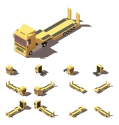isometric truck with lowboy semi-trailer vector image vector image