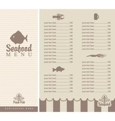 Menu for seafood vector