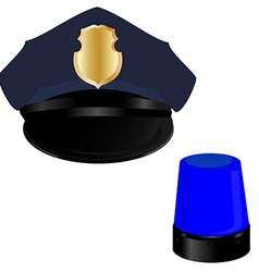 Police hat and light vector image vector image