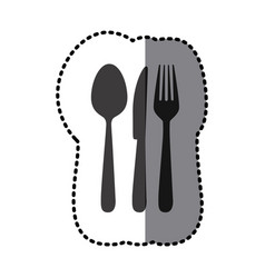 sticker shading monochrome cutlery kitchen vector image vector image