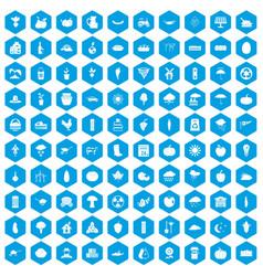 100 pumpkin icons set blue vector
