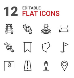 12 map icons vector image