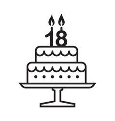 18 years birthday cake vector