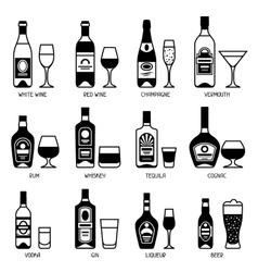 Alcohol drinks icon set bottles glasses vector