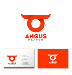 Angus logo abstract bull head horns vector
