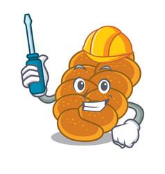 Automotive challah mascot cartoon style vector